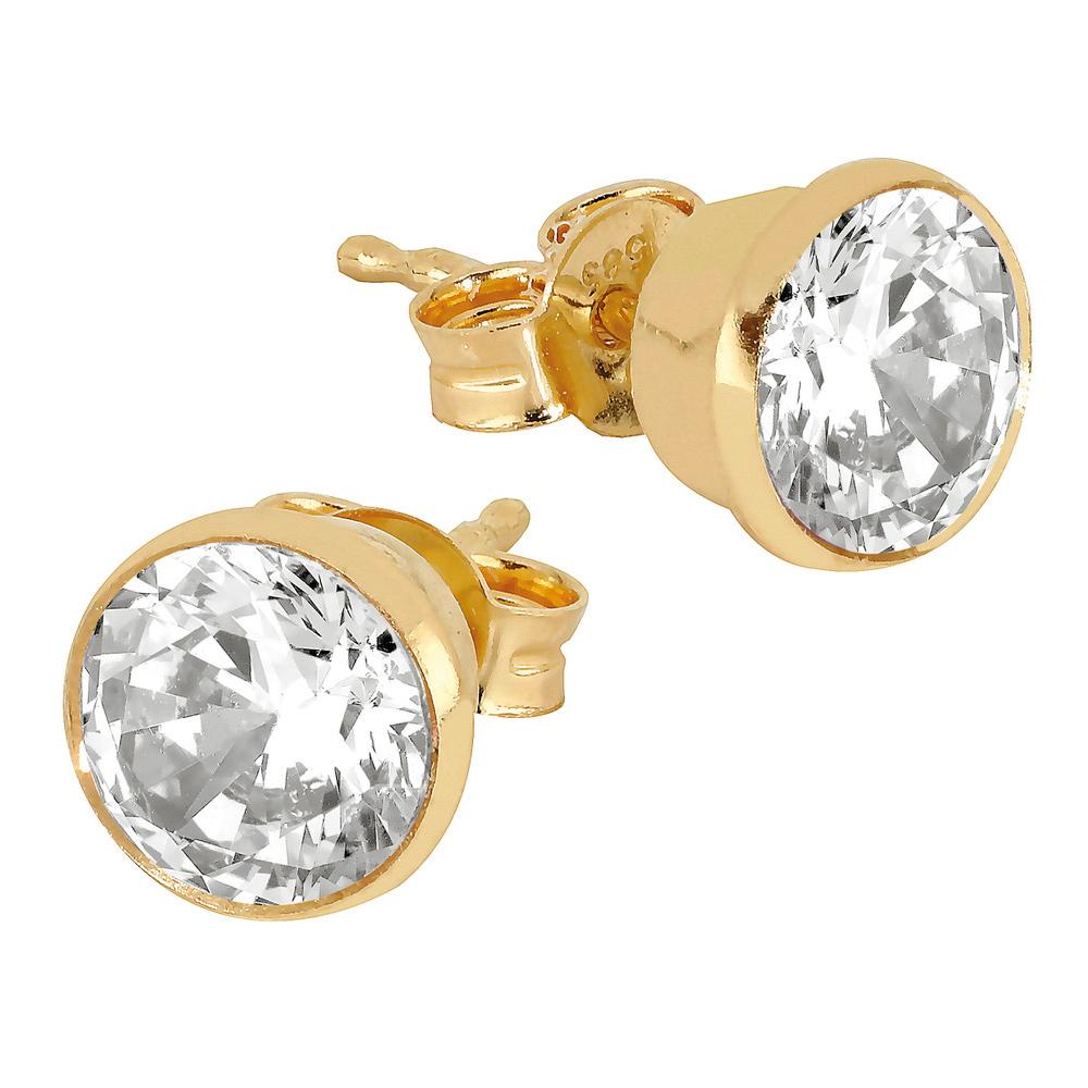 Kultaiset tappikorvakorut kirkkaalla kristallilla 6 mm