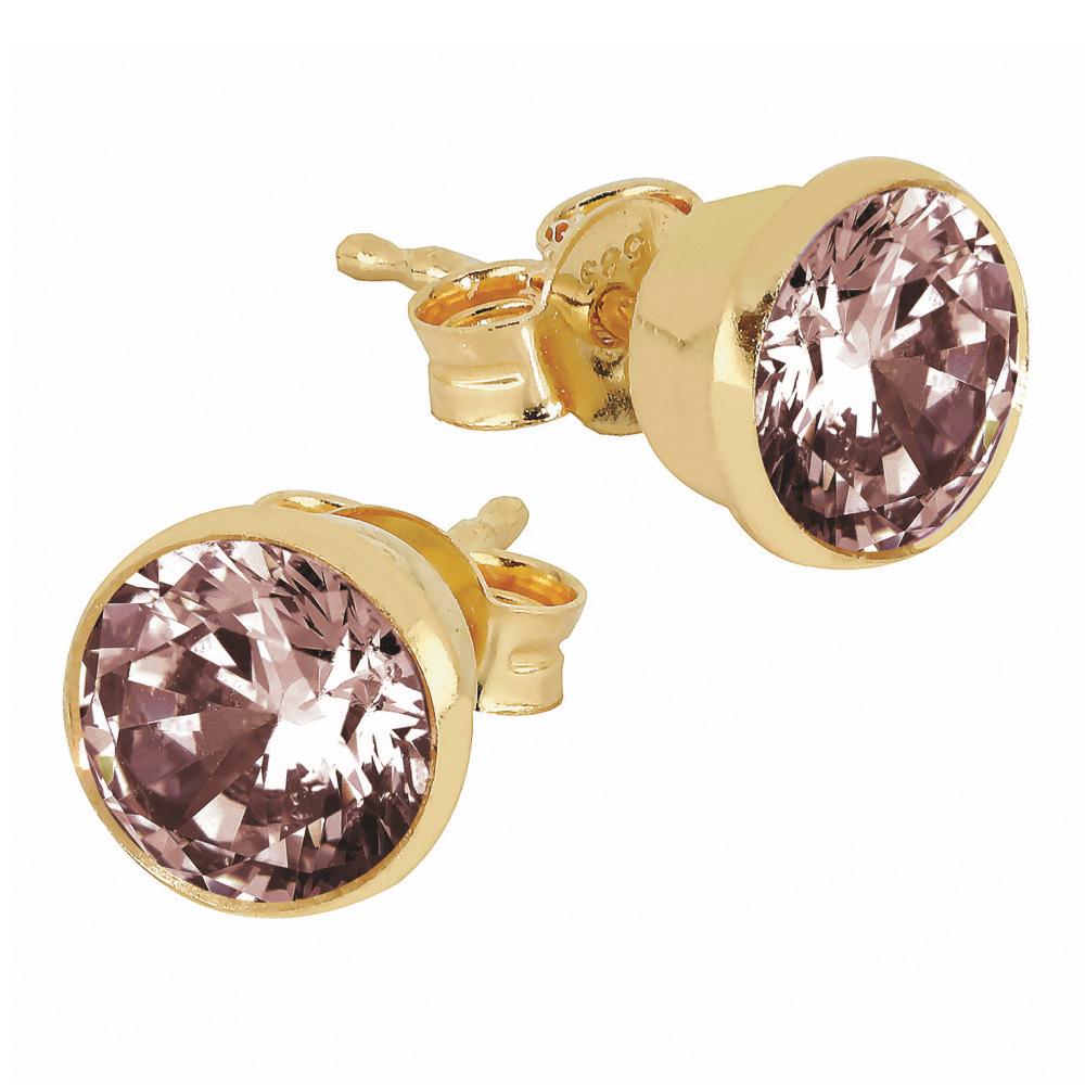 Kultaiset tappikorvakorut rosan värisillä kristallilla 6 mm