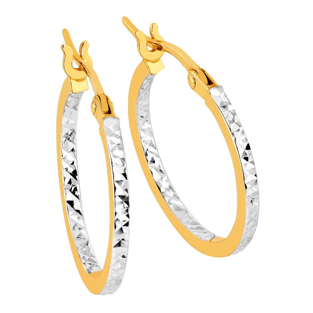 Kultaiset rengaskorvakorut, timanttileikkaus 15 mm