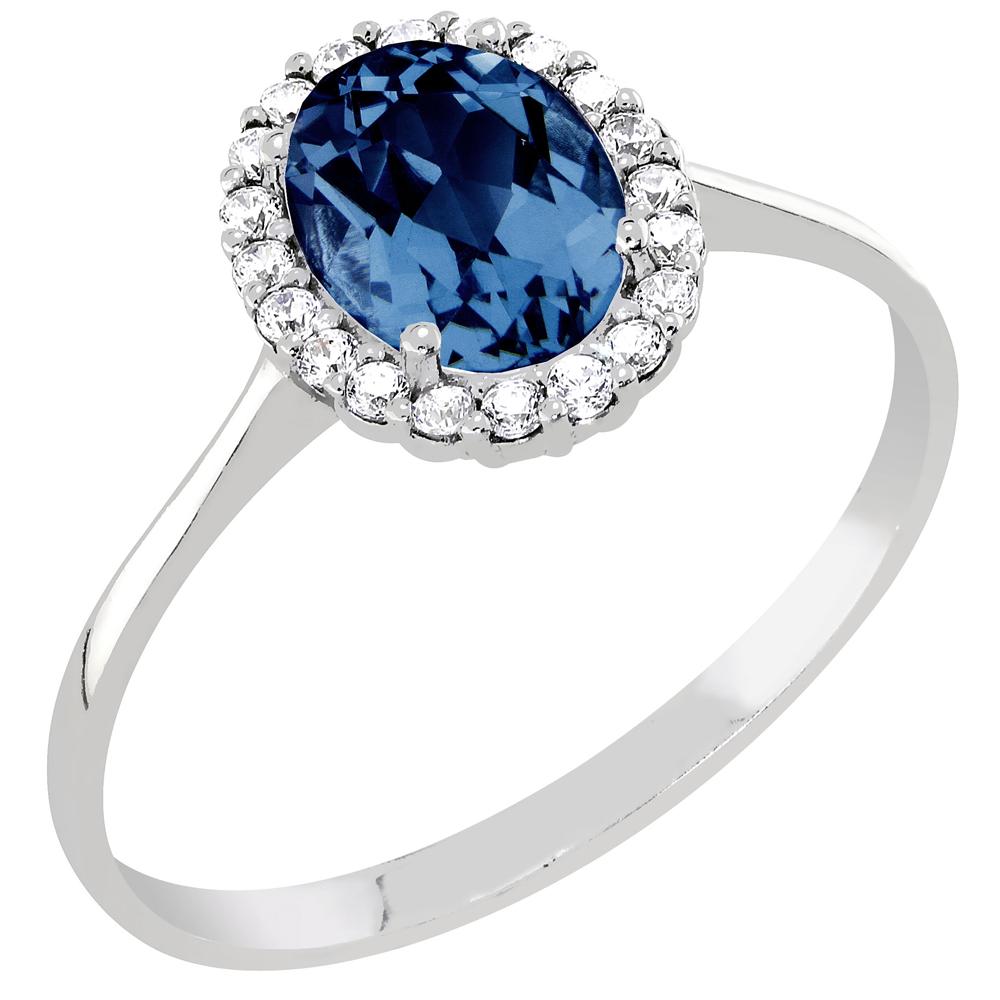 Mood hopeinen sormus, sininen zirkoniakivi