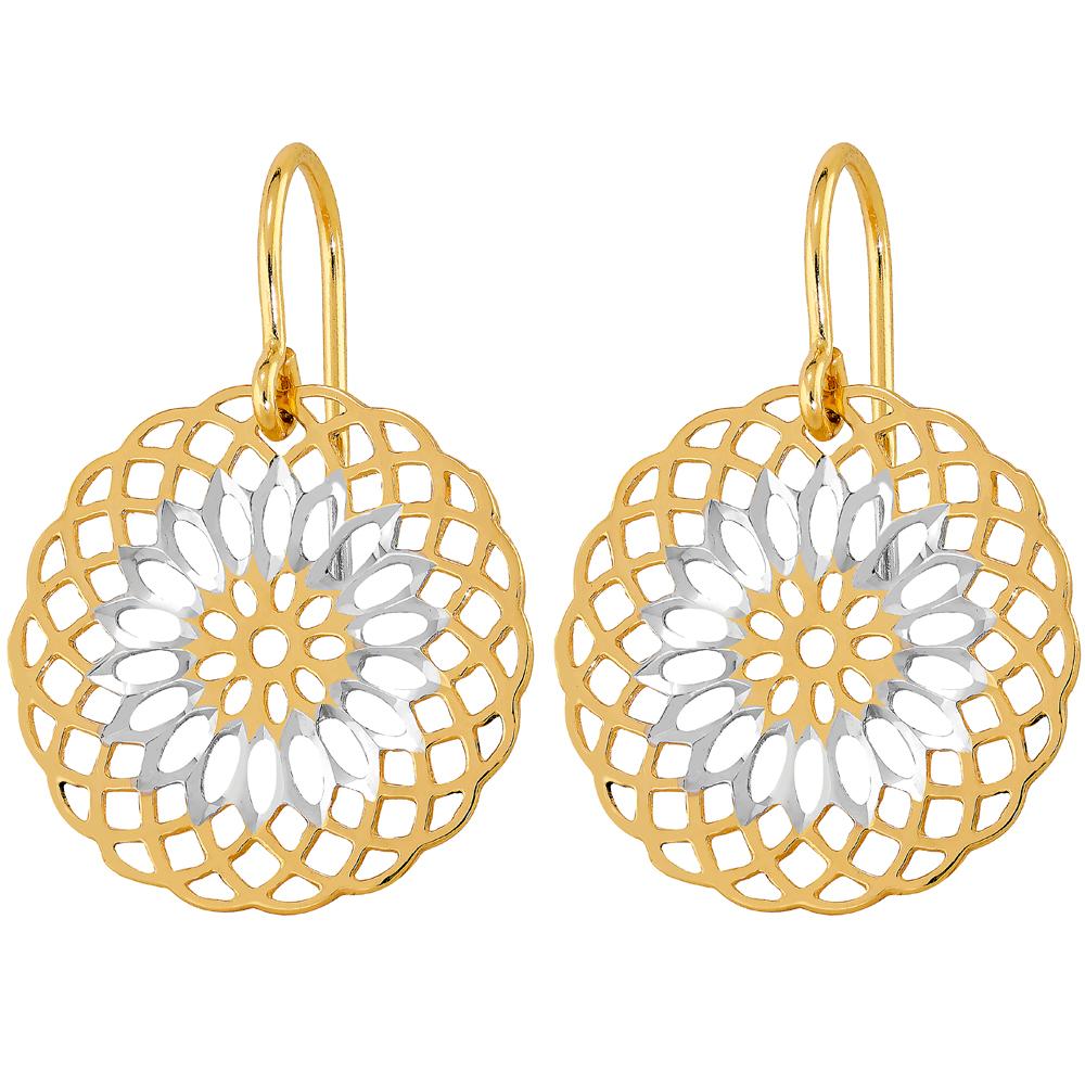 Kultaiset pyöreät koukkukorvakorut, Mandala