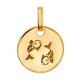 Kultainen horoskooppiriipus 10 mm, Kalat