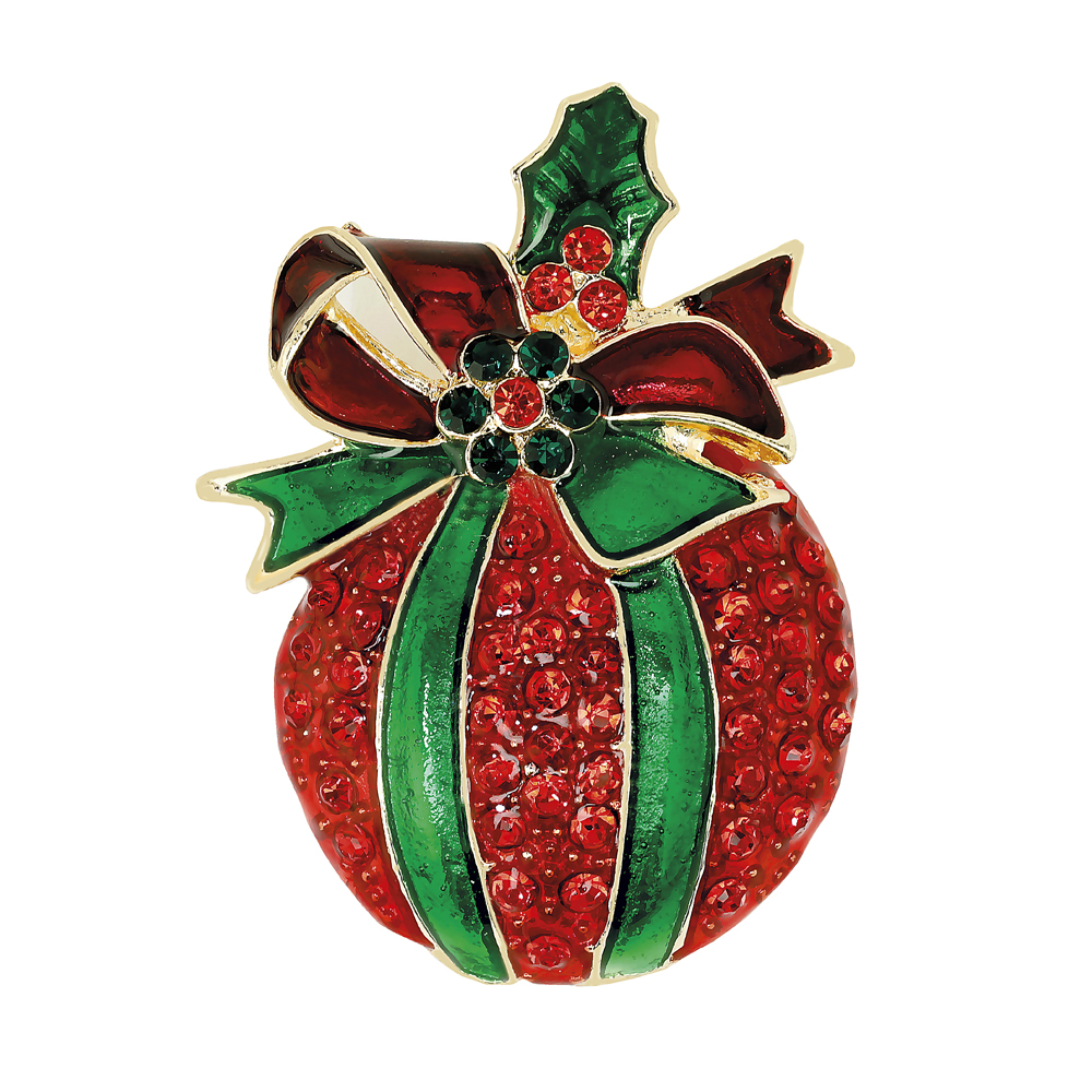 Jouluinen rintaneula, punainen joulupallo