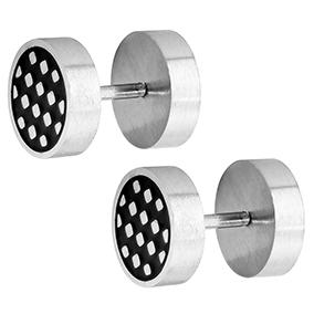 Steel4U teräskorvakorut, salmiakkikuvio 8 mm