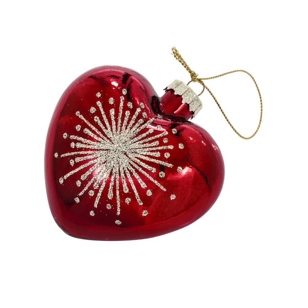 Joulunpunainen sydänkoriste, tähtisäde, lasia
