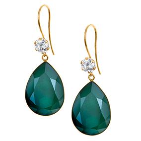 Kultaiset pisarakorvakorut, vihreä kristalli
