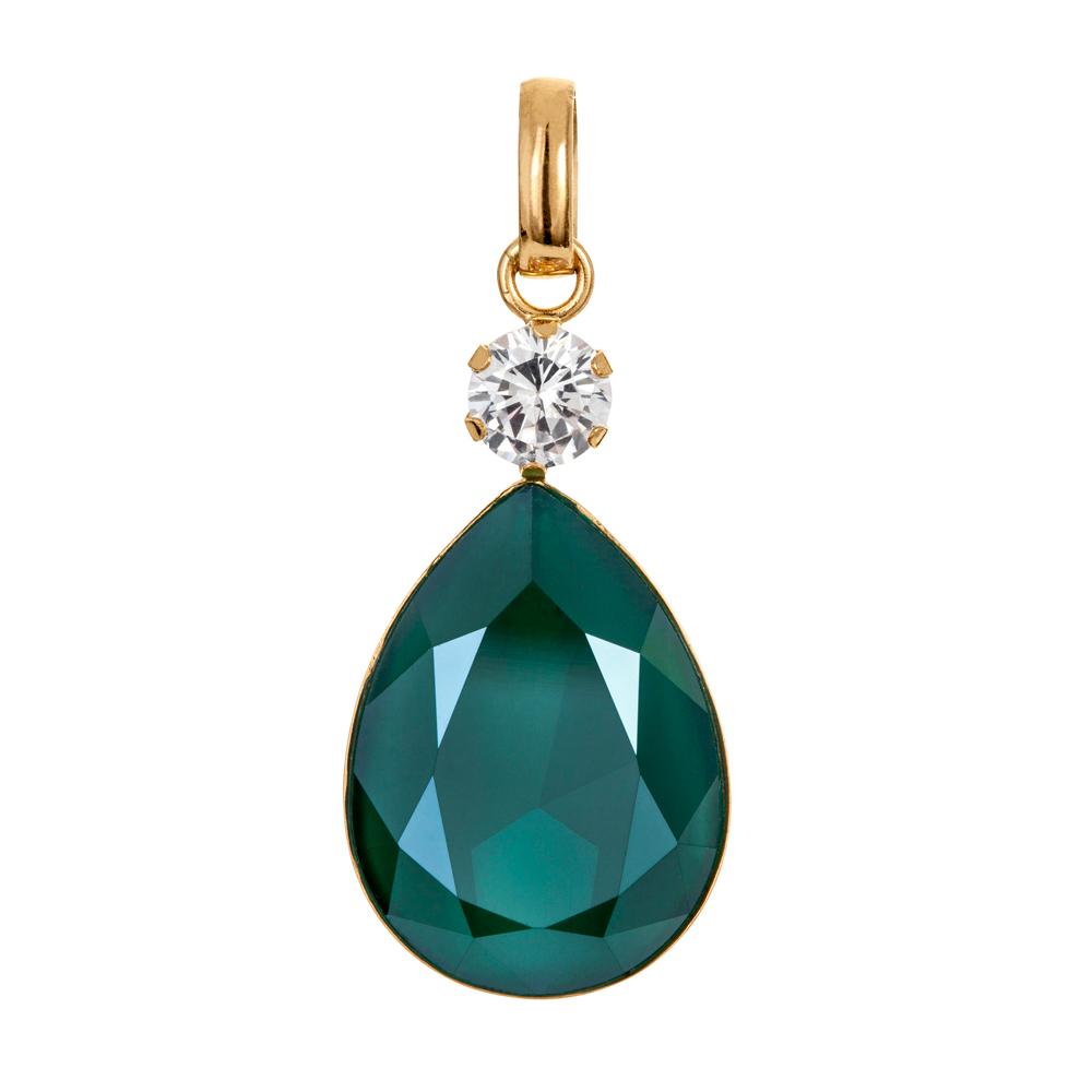 Kultainen pisarariipus, vihreä kristalli