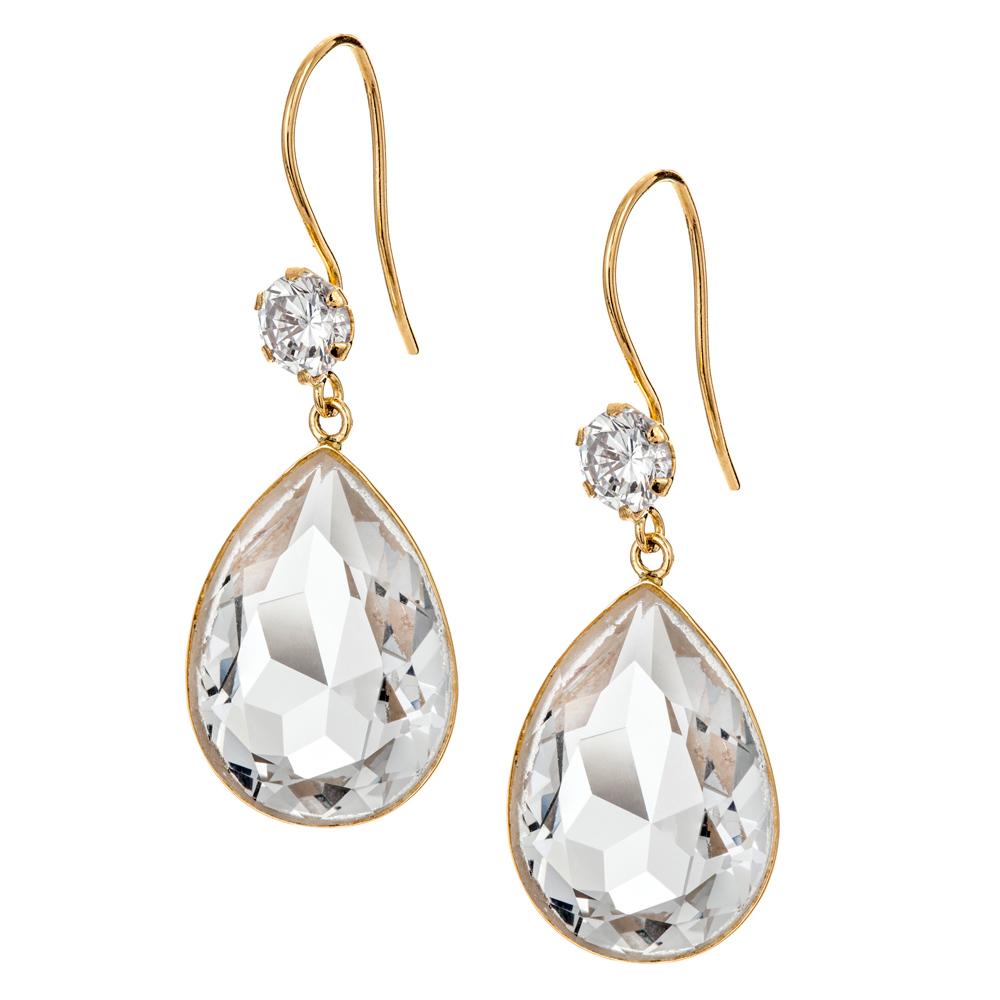 Kultaiset pisarakorvakorut, kirkas kristalli