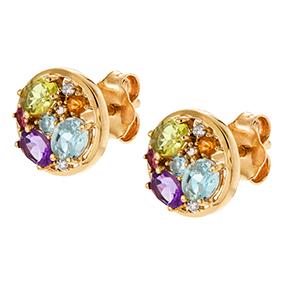 Kultaiset timanttikorvakorut 0,03ct, värikivet