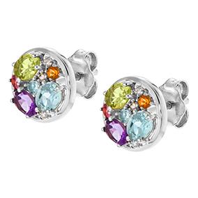 Valkokultaiset timanttikorvakorut 0,03ct, värikivet