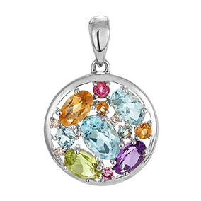 Valkokultainen timanttiriipus 0,015ct, värikivet