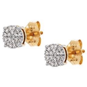 Kultaiset timanttikorvakorut 0,15ct, kukka