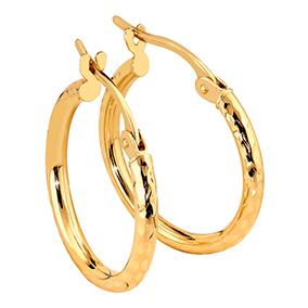 Kultaiset timanttileikatut renkaat 15 mm