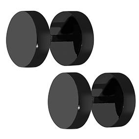 Steel4U mustat teräskorvakorut 8 mm