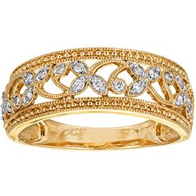 Kultainen timanttisormus 0,15ct, kukkafiligraani