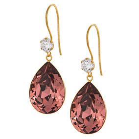 Kultaiset pisarakorvakorut, roosa kristalli