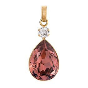 Kultainen pisarariipus, roosa kristalli