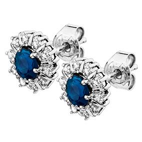 Valkokultaiset timantti-safiirikorvakorut 0,10ct