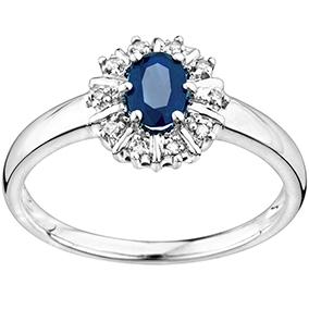 Valkokultainen timantti-safiirisormus 0,10ct