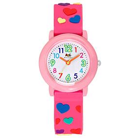 ABC rannekello, värikkäät numerot ja sydämet, vaaleanpunainen