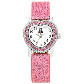 ABC rannekello, sydäntaulu, pinkki glitter