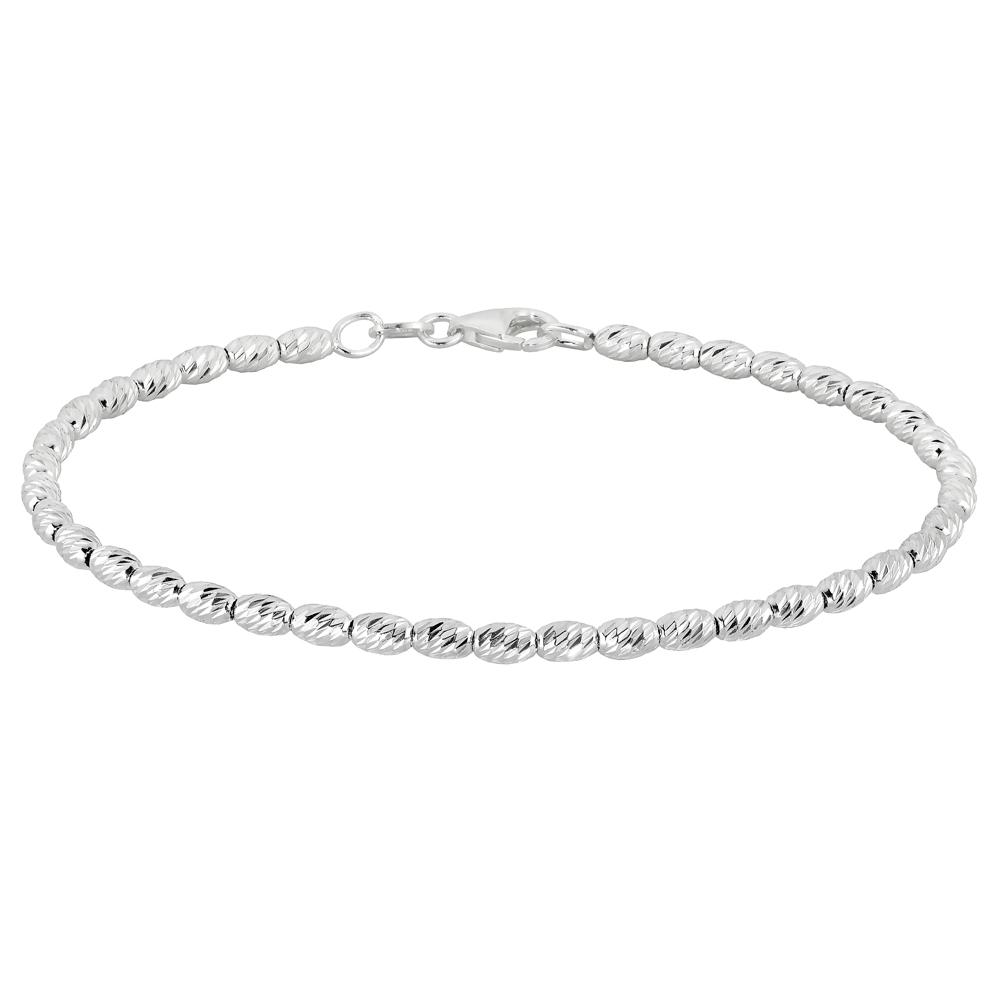 Hopeinen rannekoru, timanttileikatut hopeahelmet