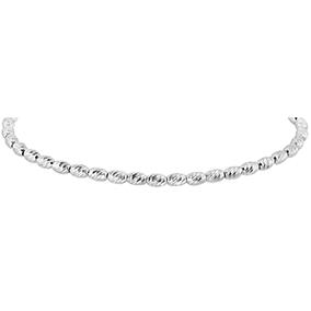 Hopeinen kaulakoru, timanttileikatut hopeahelmet