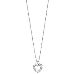 Hopeinen sydänriipus, kirkkaat kristallit