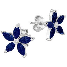 Hopeiset siniset kukkakorvakorut, zirkoniat