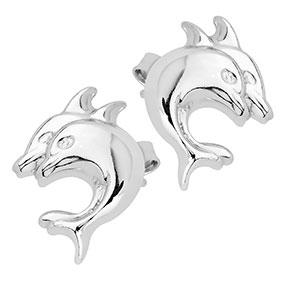 Hopeiset korvakorut, delfiinit