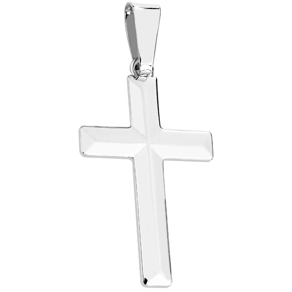 Hopeinen sileäpintainen risti, viistot reunat