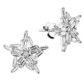 Hopeiset tähtikorvakorut, zirkoniakivet