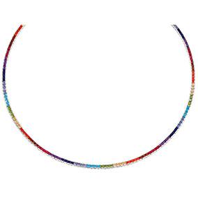 Hopeinen värikäs kaulakoru, rainbow