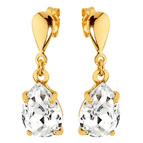 Kultaiset tappikorvakorut, kirkas kristalli