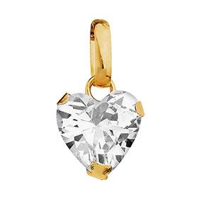 Kultainen sydänriipus, zirkonia 7 x 7 mm