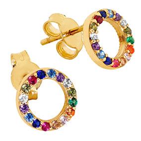 Kultaiset pyöreät korvakorut, rainbow