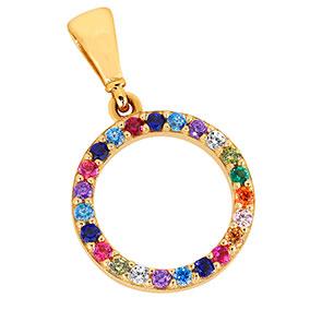 Kultainen pyöreä riipus, rainbow