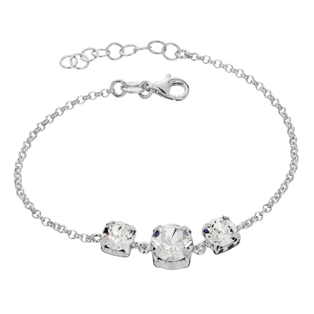 Mood hopeinen rannekoru, 3 x kirkkaat kristallit