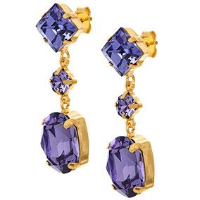 Mood kullatut hopeiset korvakorut, siniset kristallit