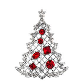 Hopeanvärinen rintaneula, punaiset kivet