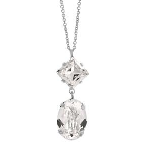 Mood hopeinen kaulakoru ovaali, kirkkaat kristallit
