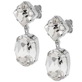 Mood hopeiset korvakorut ovaali, kirkkaat kristallit