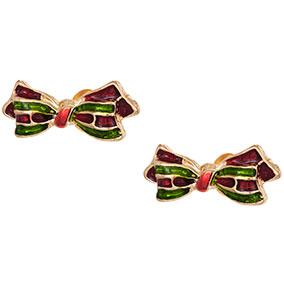 Kullanvärinset korvakorut, puna-vihreä rusetti