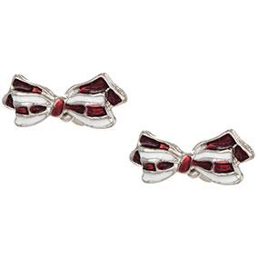 Hopeanväriset korvakorut, puna-valkoinen rusetti