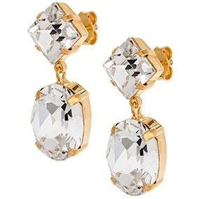 Mood  kullatut hopeiset korvakorut ovaali, kirkkaat kristallit