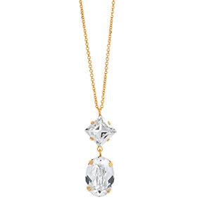 Mood kullattu hopeinen kaulakoru ovaali, kirkkaat kristallit