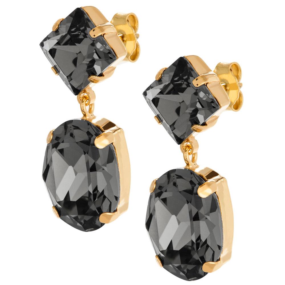 Mood kullatut hopeiset korvakorut ovaali, mustat kristallit