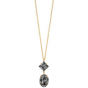 Mood kullattu hopeinen kaulakoru ovaali, mustat kristallit