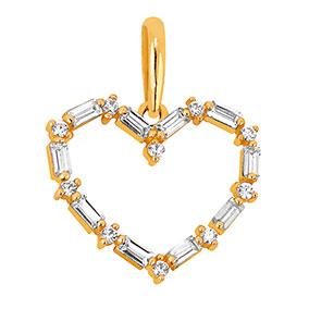 Kultainen zirkonia riipus, sydän