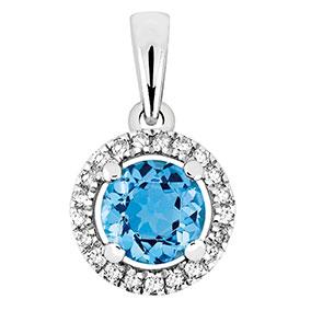 Valkokultainen timantti-topaasiriipus 0,08ct 14 K